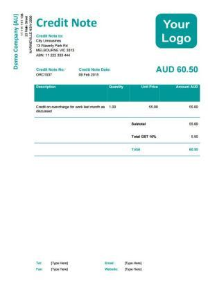 Xero Credit Note Template