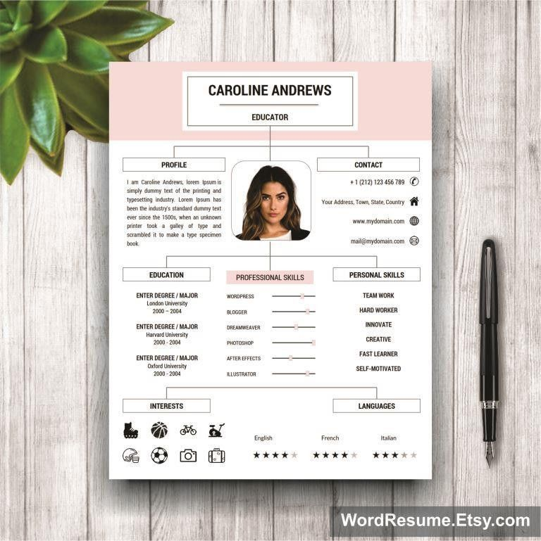 Resume Template + Cover Letter and Portfolio for MS Word ...