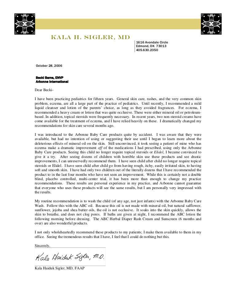 Arbonne ABC Recommendation letter Dr Sigler