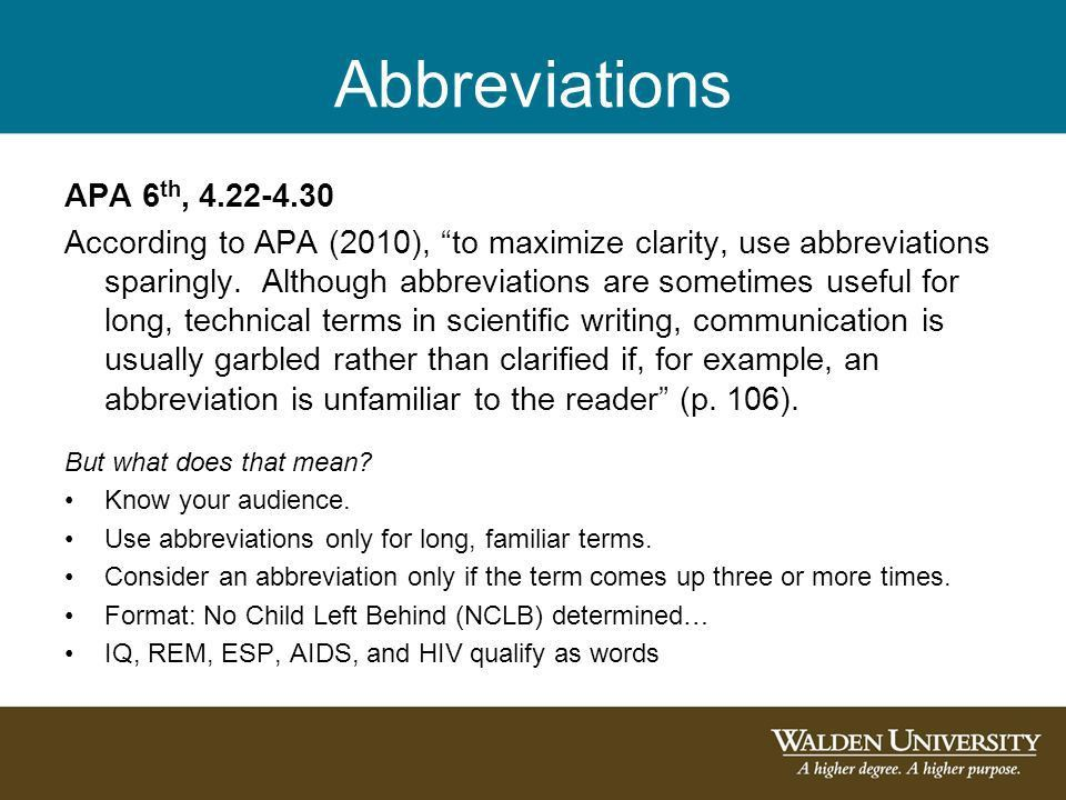 Tables and Figures, Scientific Abbreviations, and Other APA ...