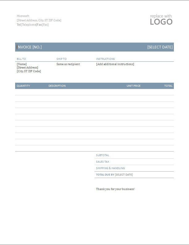 Word invoice template - Printable Word, Excel Invoice Templates ...