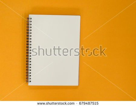 Blank Notebook On Yellow Background Stock Photo 605101226 ...