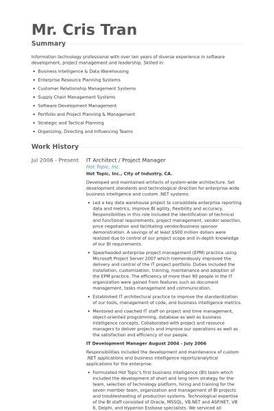 It Architect Resume samples - VisualCV resume samples database