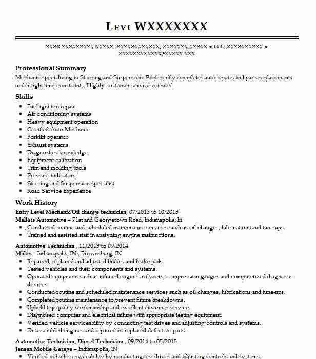 Best Entry Level Mechanic (Maintenance/Janitorial) Resume Example ...