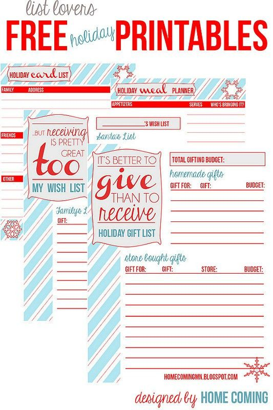 Home Coming: Free Printables: Holiday Planning and Lists
