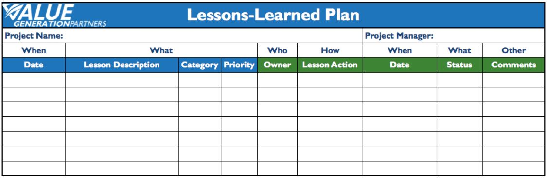 Generating Value by Creating a Lessons-Learned Plan – Value ...
