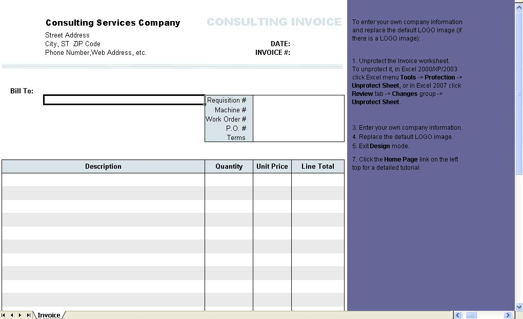 Consulting Invoice Form - Uniform Invoice Software