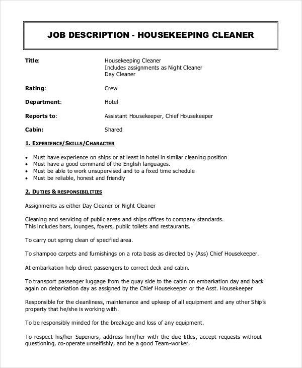 28+ [ Housekeeping Manager Job Description Duties ] | Housekeeper ...