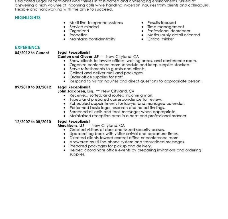 Pleasurable Inspiration Receptionist Resume Examples 7 Best Legal ...
