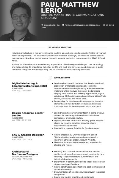 marketing communications resume samples