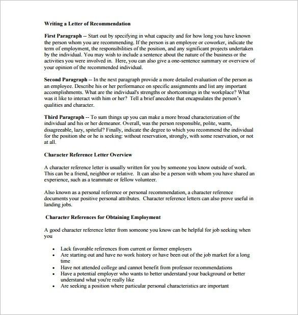 Character Recommendation Letter | Template Design