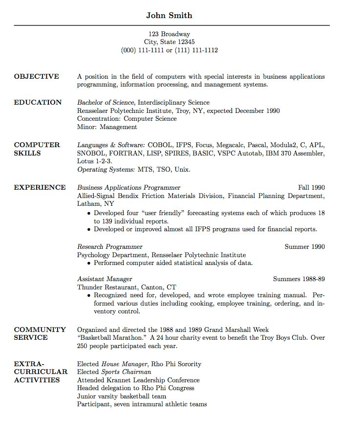Resume Sample For Graduate School Admission - Templates