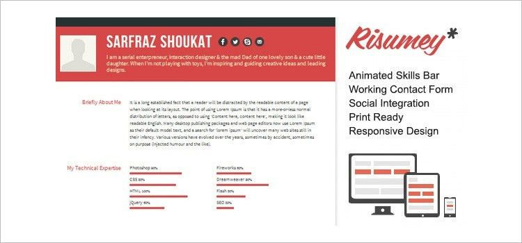41+ HTML5 Resume Templates – Free Samples, Examples Format ...