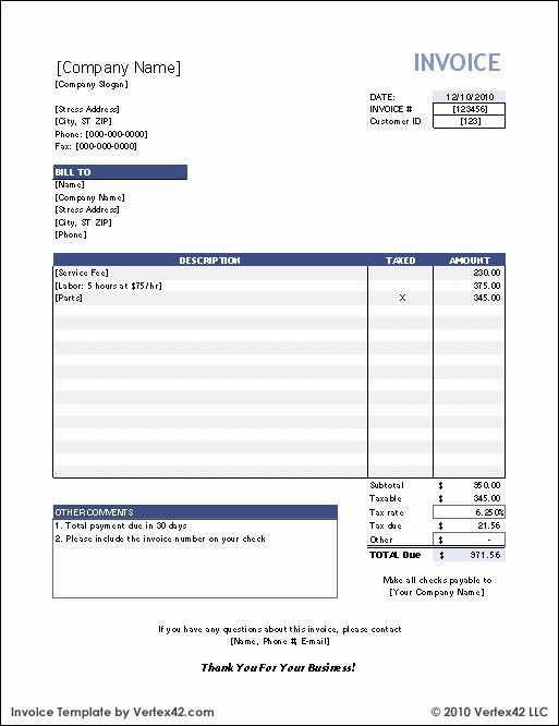 Download Form Free Invoice Template | download for excel 2003 or ...