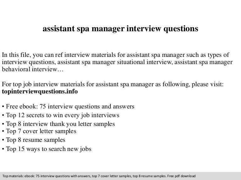 Assistant spa manager interview questions