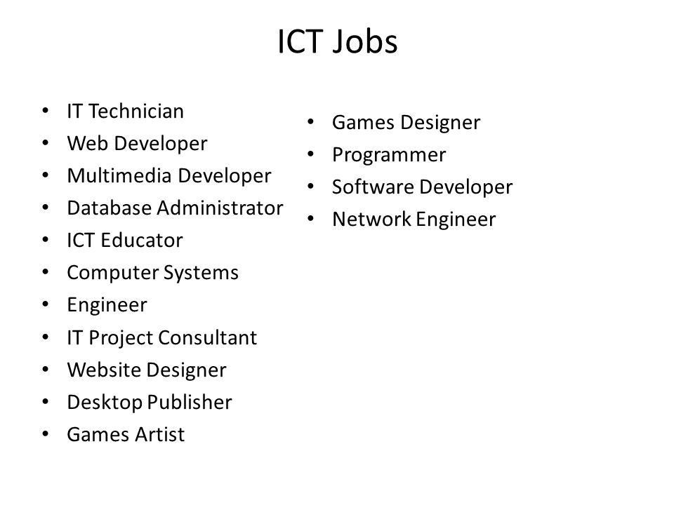 ICT careers By David Lawless. Information and communication ...