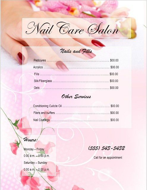 8 Free Sample Nail Services Salon Price List Templates – Printable ...