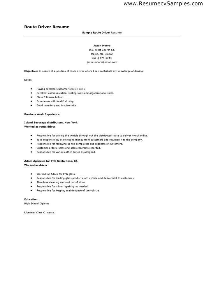 Route Driver Cover Letter