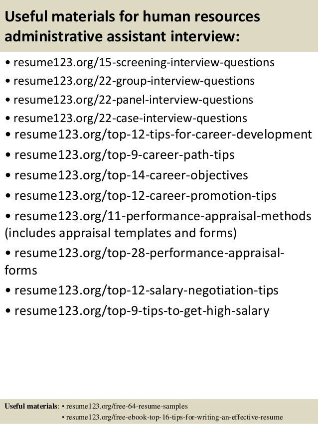 Top 8 human resources administrative assistant resume samples
