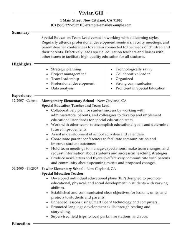 Special Education Teachers Resume Sample. special education ...