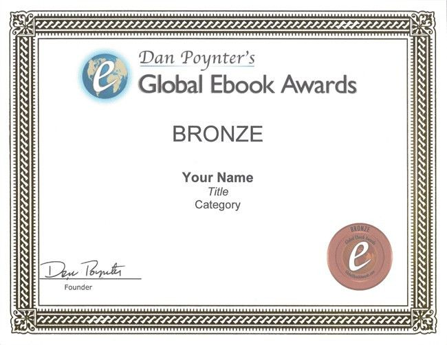 Bronze Medal Winner Certificate | Dan Poynter's Global Ebook Awards