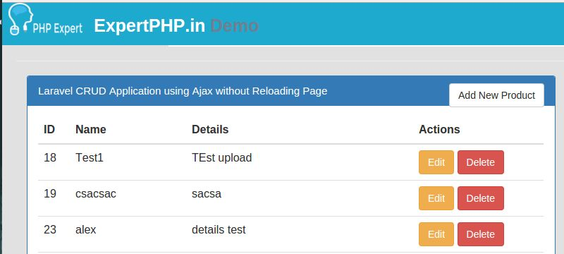 Laravel 5 Ajax CRUD example for web application without page refresh