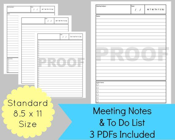 printable meeting notes and to do list for your discbound planner ...