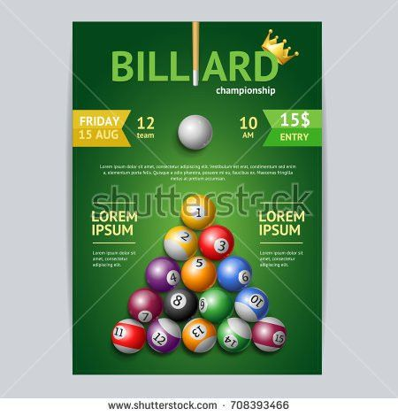 Billiard Tournament Poster Card Template Cue Stock Vector ...