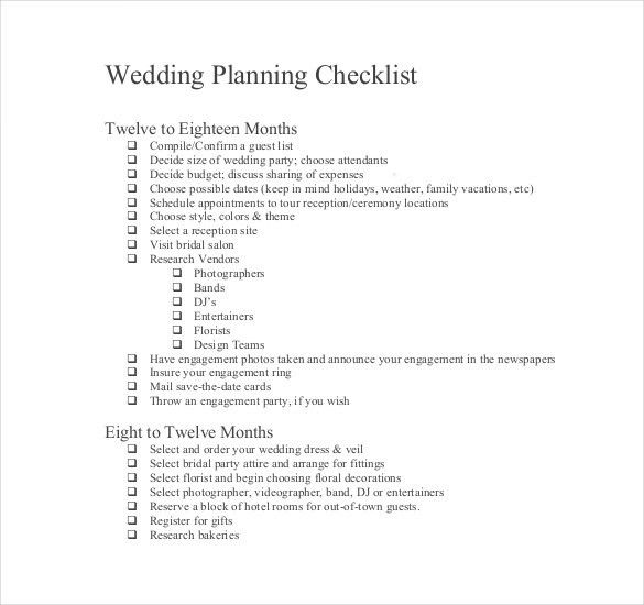 13+ Wedding List Templates – Free Sample, Example, Format Download ...