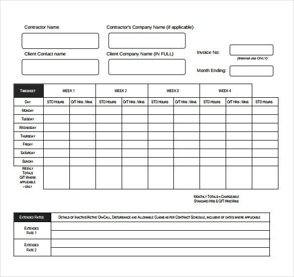 8+ Timesheet Invoice Templates – Free Sample, Example Format ...