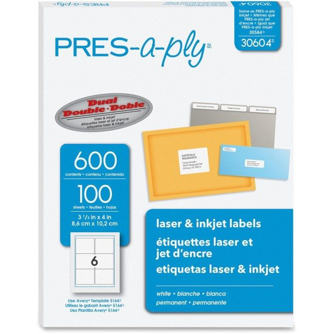 PRES-a-ply 30604 Pres-a-ply Laser/Inkjet Shipping Labels Permanent ...