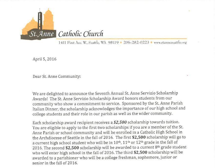 St. Anne Catholic Church: Servizio Scholarships Awards