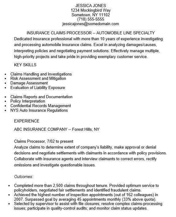 sample insurance assistant resume