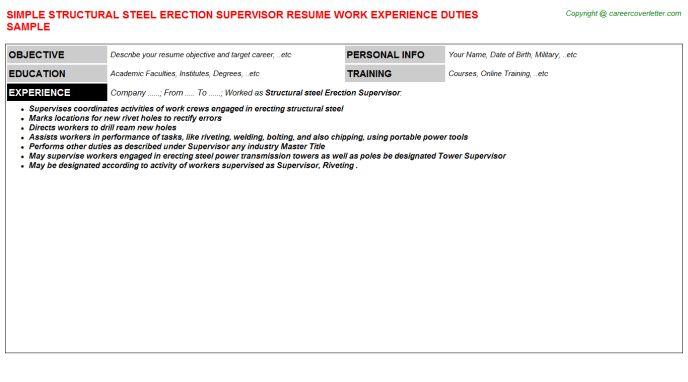 Structural Steel Erection Supervisor Resume Sample