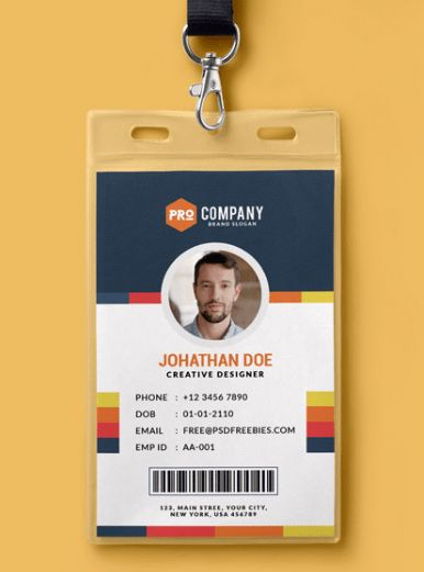 10 Free Employee ID Card Design [Templates & Mockups] | UTemplates