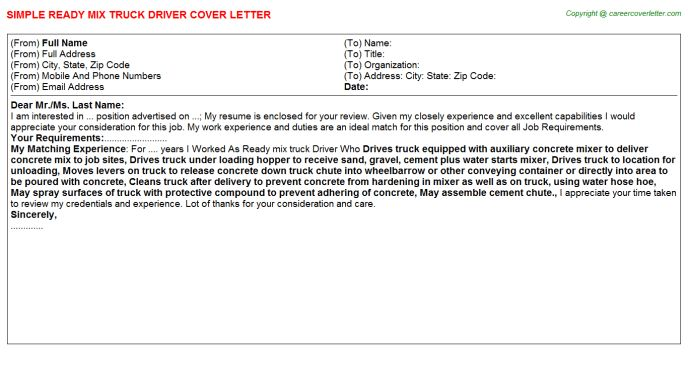 Ready Mix Truck Driver Cover Letter