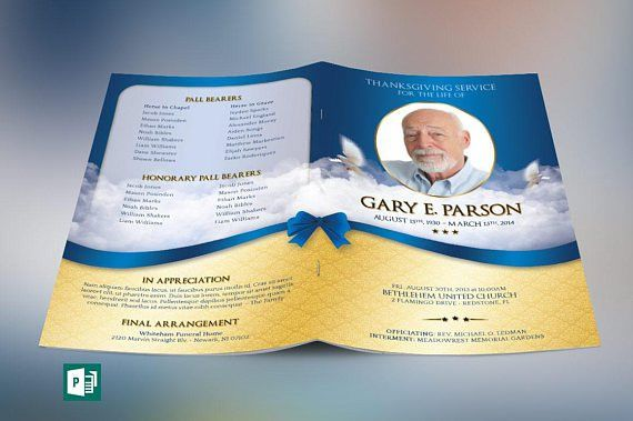 Blue Ribbon Funeral Program Publisher Template is for a modern ...