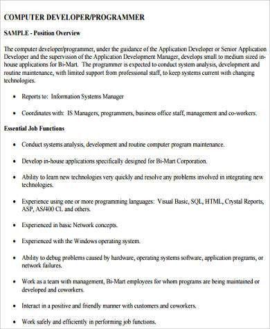Sample Computer Programmer Job Descriptions   11+ Examples In Word .