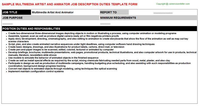 Multimedia Artist And Animator Job Title Docs