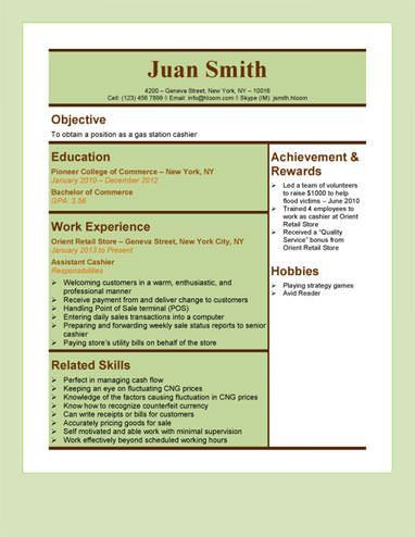 Gas Station Cashier Resume Template | Resume Templates and Samples ...