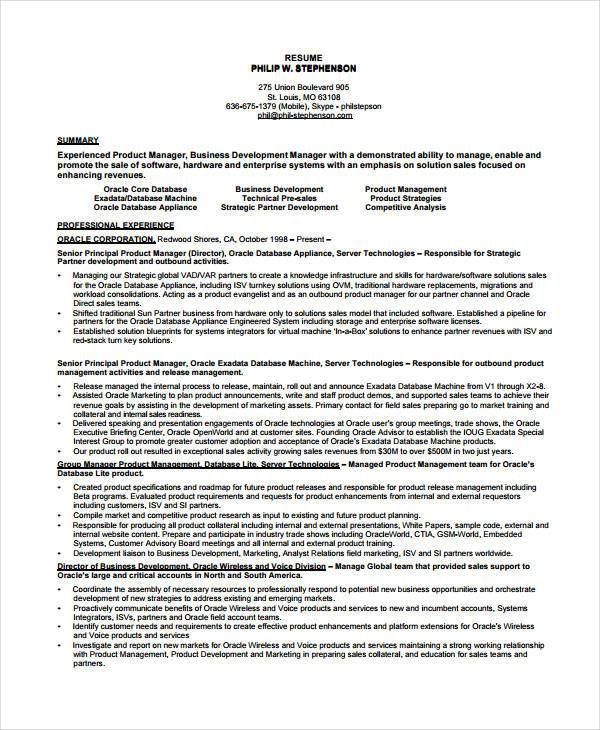 Product Manager Resume - 8+ Free PDF Documents Download | Free ...