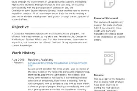 resident advisor resume