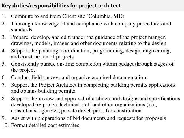 Superior Project Architect Job Description