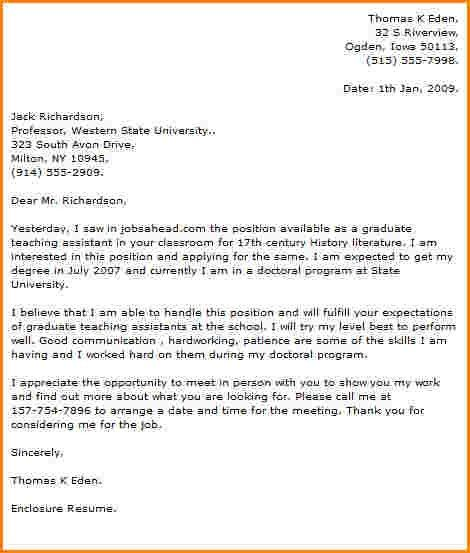 cover letter very good application letter for a graduate assistant ...