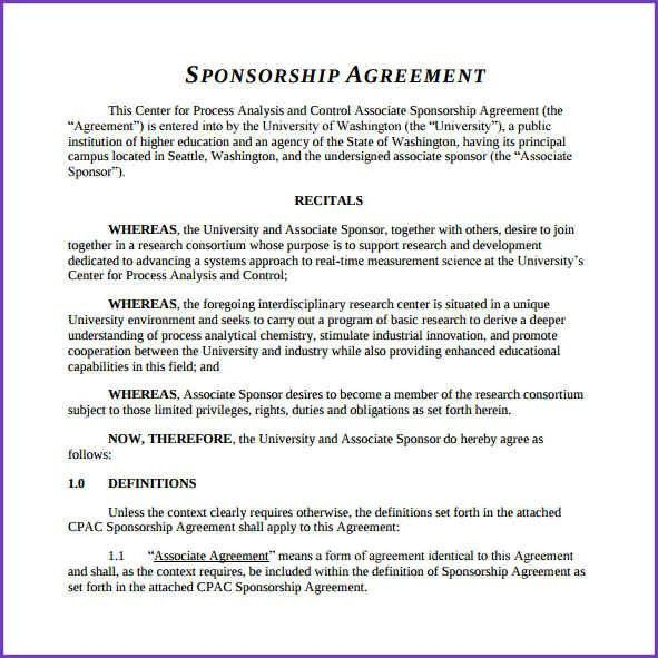 SPONSORSHIP AGREEMENT | Jobproposalideas.com
