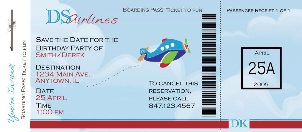 Funny Example of Airlines Boarding Pass Ticket Template Sample ...