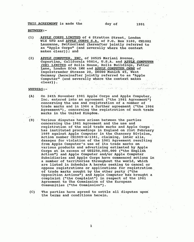 FindLaw: Settlement Agreement Between Apple Corps, Ltd. and Apple ...