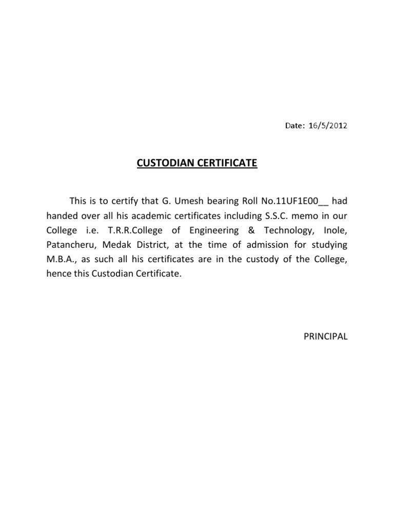 Bonafide Certificate For Passport  Noc Certificate For Passport