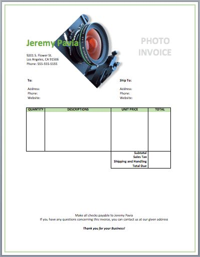 Photography Invoice Template | Free Invoice Templates