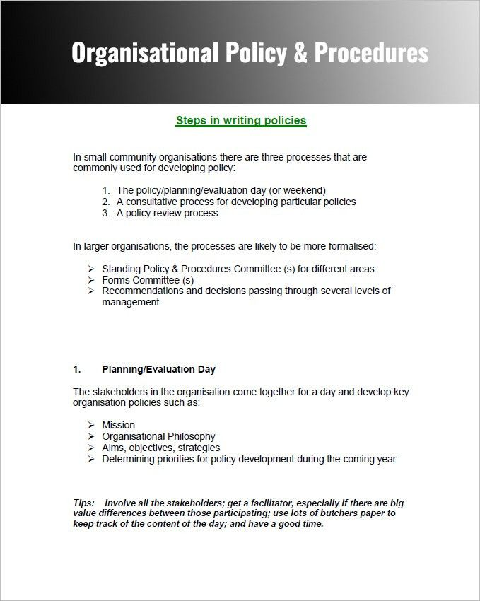 Policy and Procedure Templates - Word & PDF Download   Creative ...